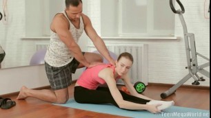 Cute slender babe Agatha riding her personal trainers cock