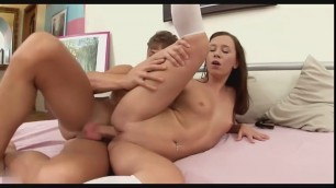 Pretty schoolgirl Gracie riding stiff cock with her tight ass