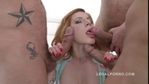 Triple dick bonanza for a cute redhead mariana