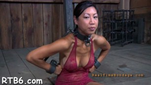 Tough lass receives electrifying torture for her nipples