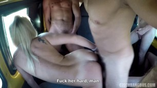 Czech Pretty girl blonde fuck a lot of guys on the bus 2