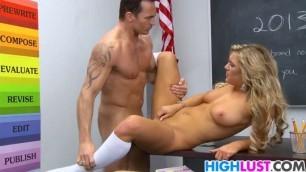 Sexy blonde schoolgirl Cameron Dee Hot sex