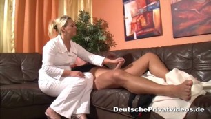 Good looking Blonde doctor treats lucky guy