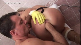 Blonde Silvia gets her twat fisted by cleaning boy