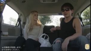 ute blonde student gets pussylicked in car by Asian bloke