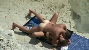An unsuspecting hot couple at nudist beach are secretly recorded fucking