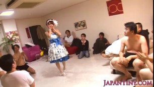 Adorable Japanese teen Jenevieve gets the bukkake treatment
