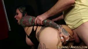 Depraved Busty Woman Tattooed witch rides dick