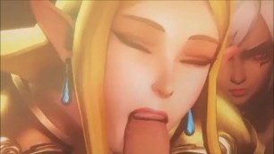 Link Gets Awesome Blowjob From Zelda and Dark Elf Hentai