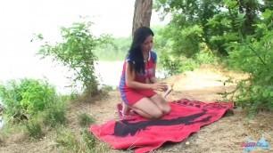 39 busty ellen blue bra lake Passionate Girl caresses himself on Outdoor