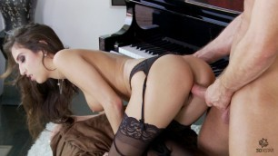 April Oneil masturbating and fucking brunette pov blowjob