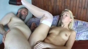 Small titted gets hot fucked in lots of poses by old guy