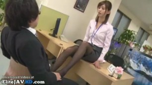 Japanese office Lovely lady pantyhose footjob to his boss