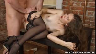 Brunette cutie Juliya in stockings fucks for money