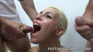 Bukkake Silvana blonde opens her mouth and receives a mouth from several men