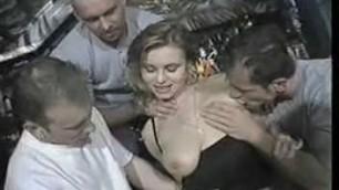 Public sex Elena Nikulina sucks cock and fucks with three men