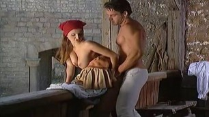 Medieval Mischief girls fuck each other and with men part 1