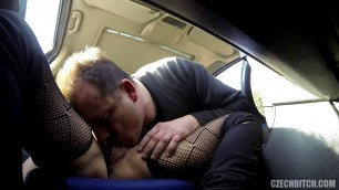 Mature Czech Bitch with big hanging tits fucking in the car 42