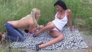 Lesbian Pickups Olga Girls caress pussy Outdoor