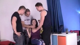 Sweet Brunette Takes Three Guys Up Her Butt Free Prono