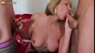 Mature Slut Takes On Two Cocks Cum In Throat