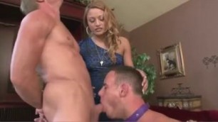 Lovely Blonde WOMAN FORCES A MAN TO SUCK HER BOYFRIEND'S COCK
