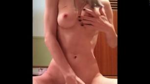 Nude Kneeling Nipple Tease