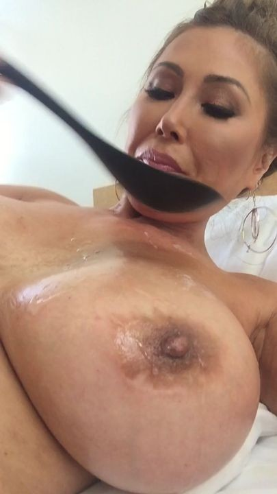 Kianna Dior Eating A Big Load Of Cum Off My Boobs With A Big Ass Spoon Good Morning