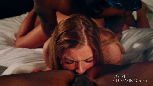 Blonde beauty giving rimjob to black dudes