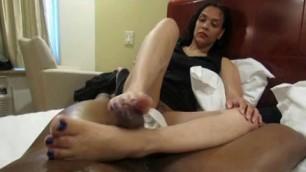 Lea Gives This Huge Ebony Dick A Footjob