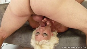 Horny granny is anal creamped