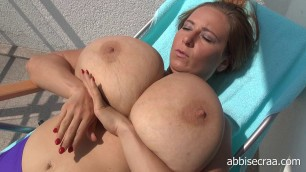Abbi Secraa Purple Bikini On Terrace Amateur Bbw Sexs