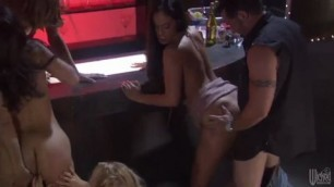 Gorgeous girls sex pleasure in exotic costumes are having group sex adventure with guys they like a lot