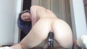 Massive black toy anal fuck
