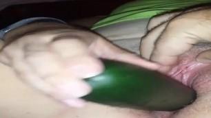 Cucumber dildo in pussy vs wife