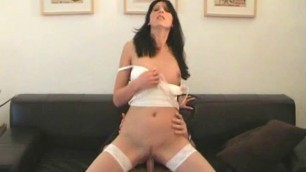 Slutty milf in white lingerie has dirty anal fuck and a facial
