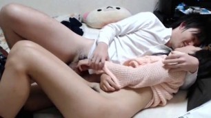 Shy and tender korean lady having sex on camera