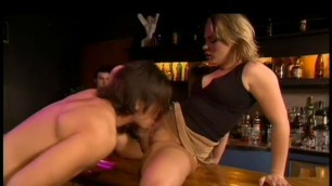 When the bar closes the bartender lets his buddy stay and get sex her