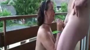 Slutty mature bitch wife doggystyled on the balcony