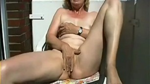 Mature play with self on the balcony