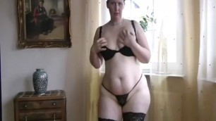 Amazing mature adrianna teasing and stripping beautiful pussy up close