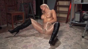 Shiny pantyhose high interracial boots