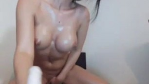 Astekangel Long dildo for her pussy and mouth