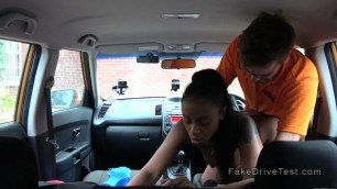 Natural busty ebony Steffi fucks instructor in his car
