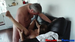 Reality hooker Nikol rides dick Mature gray haired man