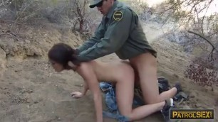 Brunette babe banged by law to cross the border