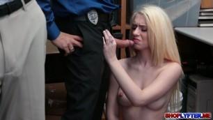 Petite Blonde Joseline Kelly bangs for shoplifting